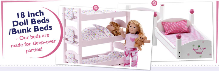 18 Inch Doll Beds and Bunkbeds fit American Girl Dolls