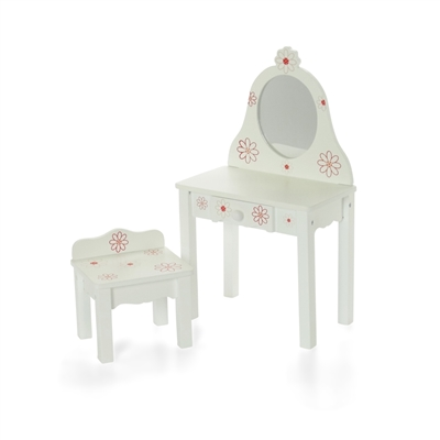 18 Inch Doll Furniture Painted Wood Vanity With Chair Fits American Girl Dolls