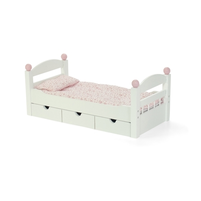 18 Inch Doll Furniture White Trundle Bed With Bedding Fits American Girl Dolls
