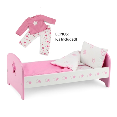 18 Inch Doll Furniture Pink Single Bed With Star Detail Includes Bedding Fits American