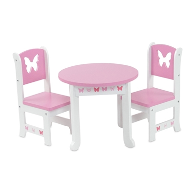 18 Inch Doll Furniture Butterfly Collection Table And 2