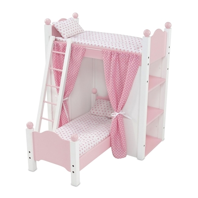 18 Inch Doll Furniture Bunk Bed With Shelves And