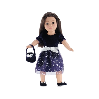 18 Inch Doll Clothes Purple Silver Star Dress With Shoes