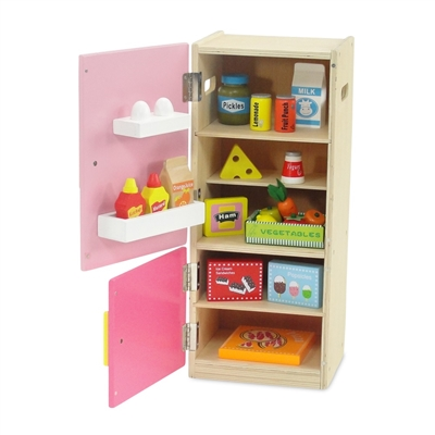 18 Inch Doll Furniture Wooden Refrigerator And Freezer With Accessories Fits American Girl
