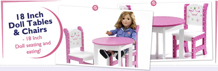 18 Inch Doll Table and Chairs fit American Girl Dolls